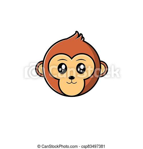 Cute Head Monkey Mascot - csp83497381