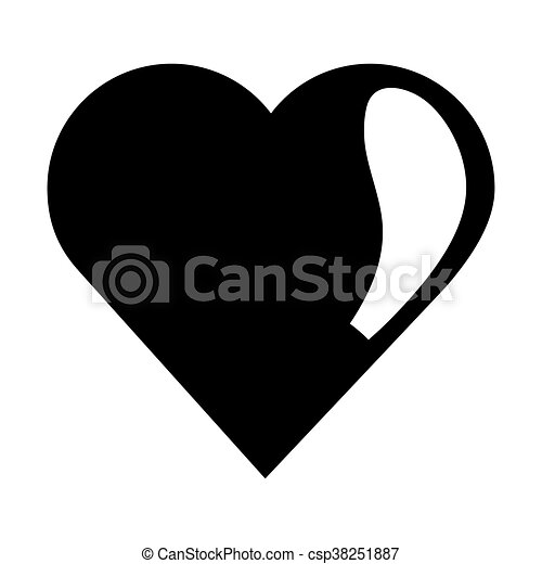 simple flat design cute heart icon vector illustration