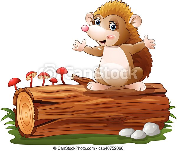 Cute hedgehog cartoon on tree log - csp40752066