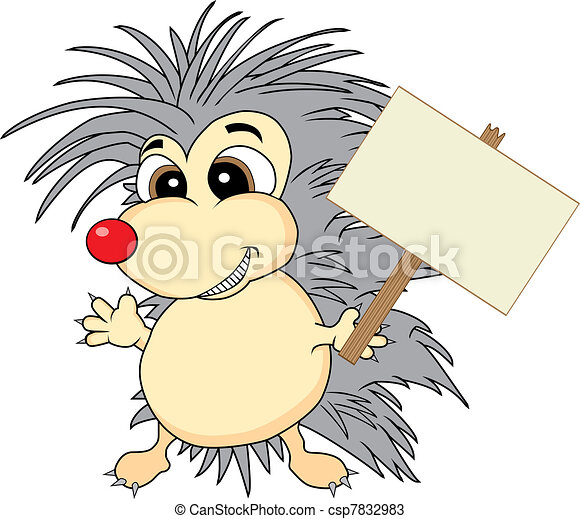 Cute hedgehog holding a wooden sign - csp7832983