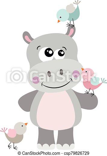 Cute hippo with three birds - csp79826729