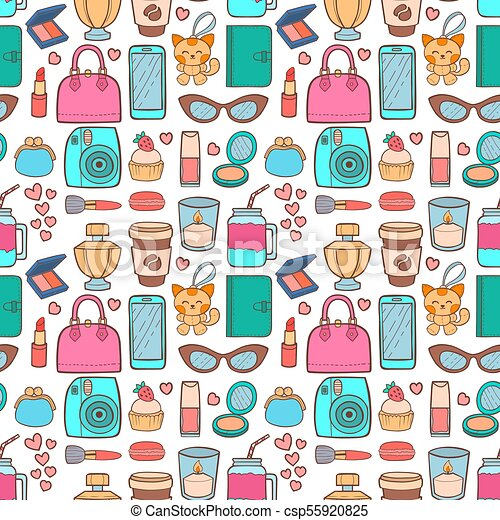 Cute Hipster Stickers Scrapbook Seamless Pattern Background Eps