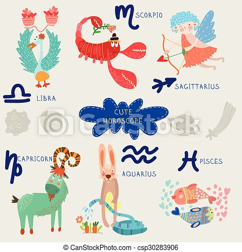 Cute horoscope. Zodiac set. Libra, scorpio, sagittarius, capricorn, aquarius, pisces - csp30283906