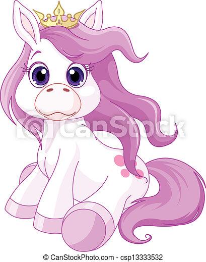 Cute horse princess  - csp13333532