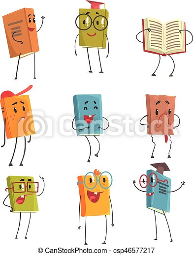 Cute Humanized Book Emoji Characters Representing Different Types Of Literature, Kids And School Books - csp46577217