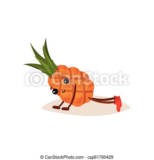 Cute humanized pineapple doing push ups. Cartoon character of tropical fruit. Sport and active lifestyle. Flat vector icon - csp61760429