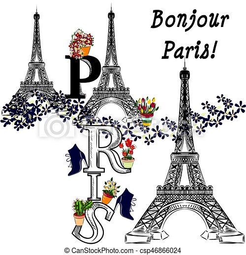 Cute Illustration With Flower Eiffel Tower And Potters Fully Of Flowers Boutique Banner T Shirt
