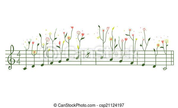 cute, -, ilustração, desenho, melodia, flores, gamma - csp21124197