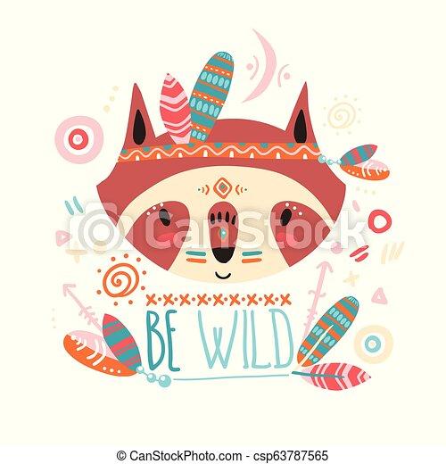 Cute indian baby raccoon. Hand drawn vector illustration. For ki - csp63787565