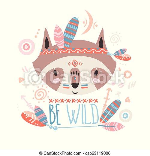 Cute indian baby raccoon. Hand drawn vector illustration. For ki - csp63119006