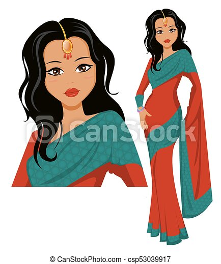 cute indian woman wearing a beautiful saree vector vector clip rh canstockphoto com