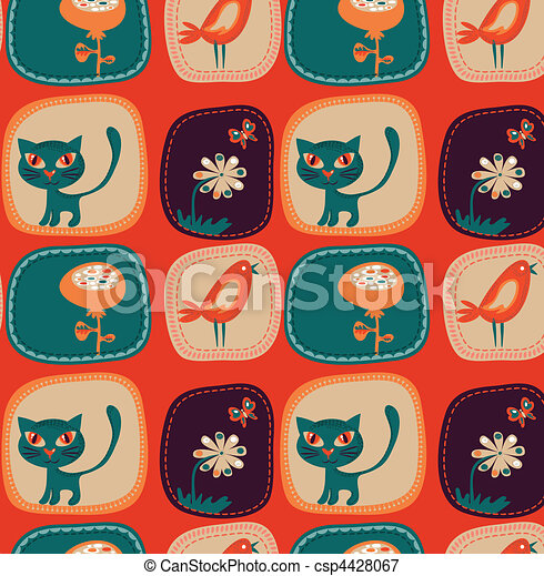 cute, infantil, papel parede - csp4428067