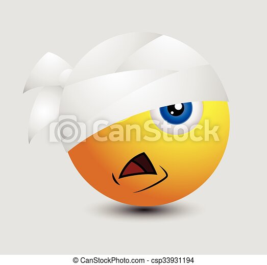 Cute Injured Emoticon - csp33931194