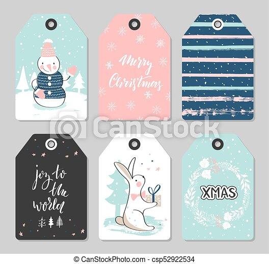 cute, jogo, animais, illustration., elements., etiquetas, mão, decoração, vetorial, desenhado, natal - csp52922534