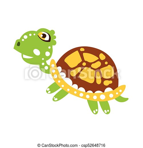Cute Jumping Green Turtle Isolated On White Spotted Shell Colored