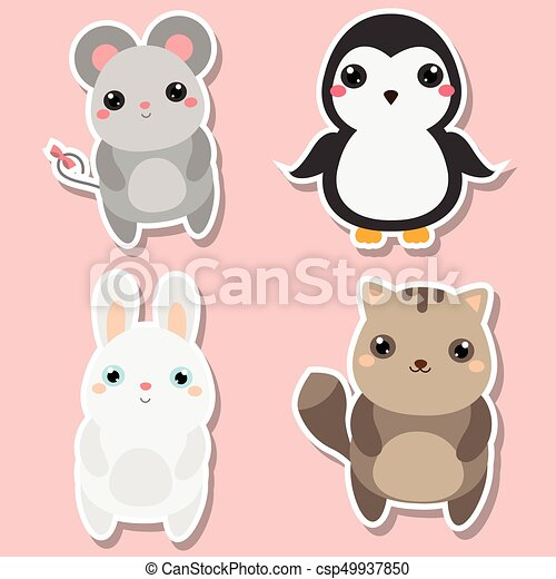 Favoloso Cute kawaii animals stickers set. vector illustration. clipart  EL22