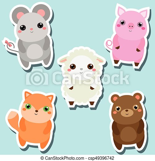 Image of: Ratatoskr Fr Cute Kawaii Animals Stickers Set Vector Illustration Mouse Pig Sheep Fox Can Stock Photo Cute Kawaii Animals Stickers Set Vector Illustration Mouse Pig