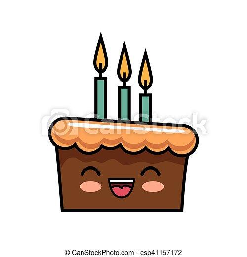 Cute kawaii cake chocolate candles happy vector illustration vectors