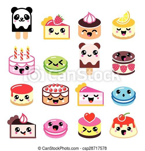 Cute Kawaii Dessert   Cake Icons   Csp28717578