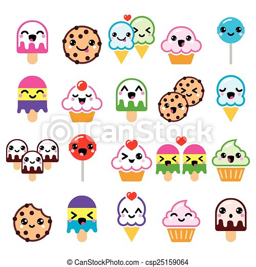 Cute Kawaii Food Characters Vector Icons Set Of Kawaii Sweets