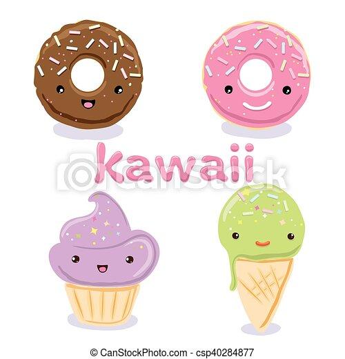 Cute Kawaii Food Characters Set Collections   Csp40284877