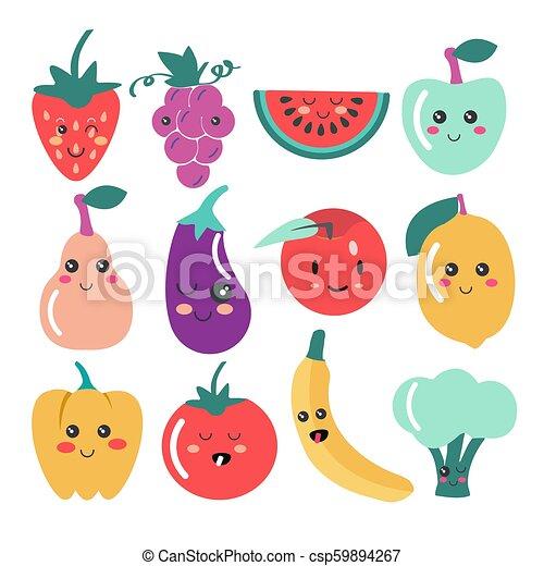 Cute Kawaii Fruit And Vegetable Icons