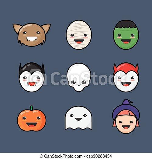 Cute kawaii halloween icons set. funny monster faces on dark ...