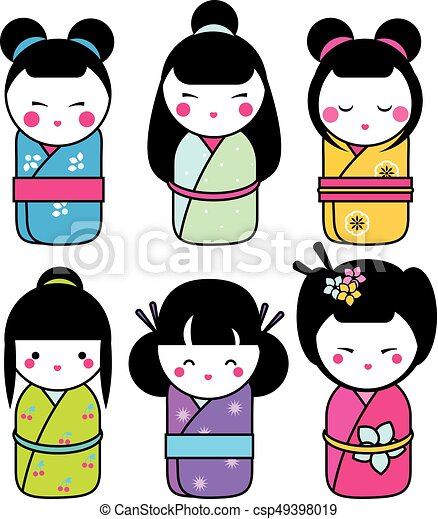 Cute kawaii kokeshi dolls stickers set traditional for Stickers kokeshi