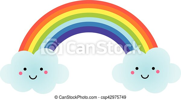 Cute Kawaii Rainbow Character Vector Illustration For Kids Isolated Design Element