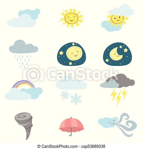 Cute Kawaii Style Weather Icons - csp53689338