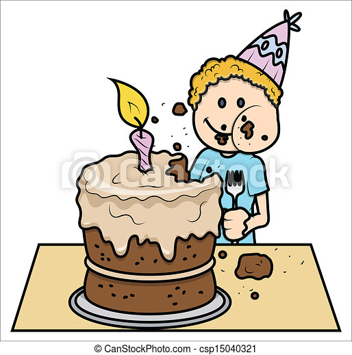 Cute kid eating his birthday cake Drawing art of cute vector