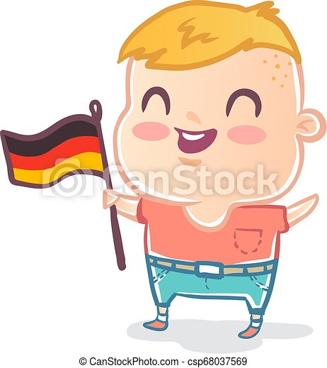 Cute kid with flag of Germany - csp68037569