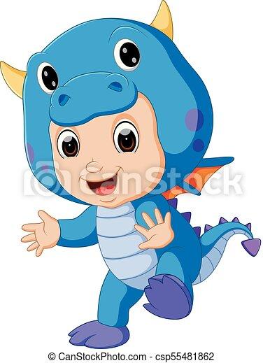 Cute kids cartoon wearing dragon costume - csp55481862
