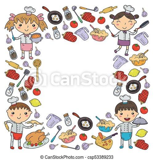 Cute Kids Chef On White Background Children Cooking Kitchen Children Cooking Lessons Cute Kids Chef On White Background Canstock