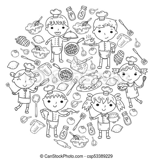 Cute Kids Chef On White Background Children Cooking Kitchen Lesson Coloring Page