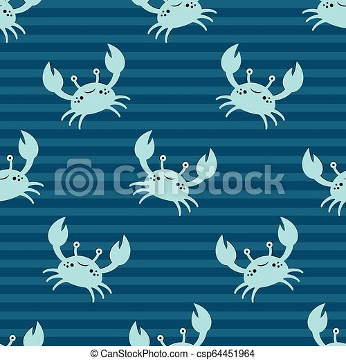 Cute Kids Crabs Pattern Cute Kids Pattern For Girls And Boys Colorful Crab On The Abstract Background Create A Fun Cartoon