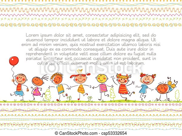 Cute Kids Funny Cartoon Character In The Style Of Children S