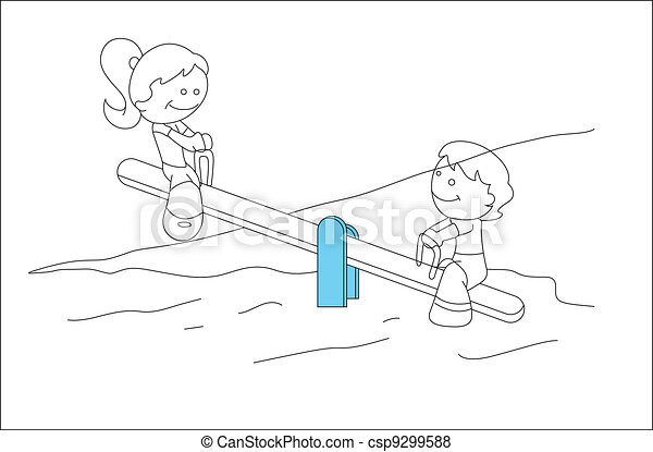 Creative Drawing Art Of Cute Kids Playing In Garden Vector