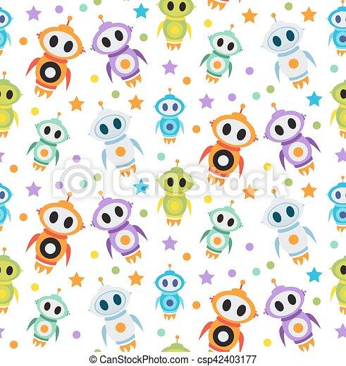 Cute Kids Seamless Pattern Robot Rocket Children Endless Background Texture Wallpaper Vector
