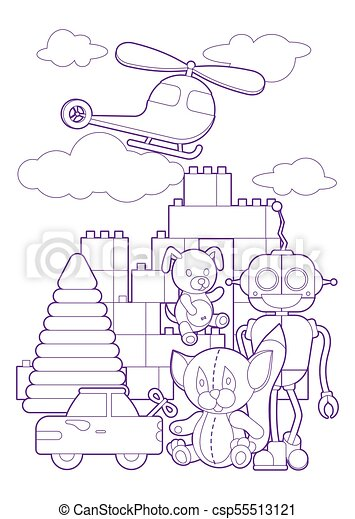 Cute kids toys, coloring page illustration. coloring book... vector ...