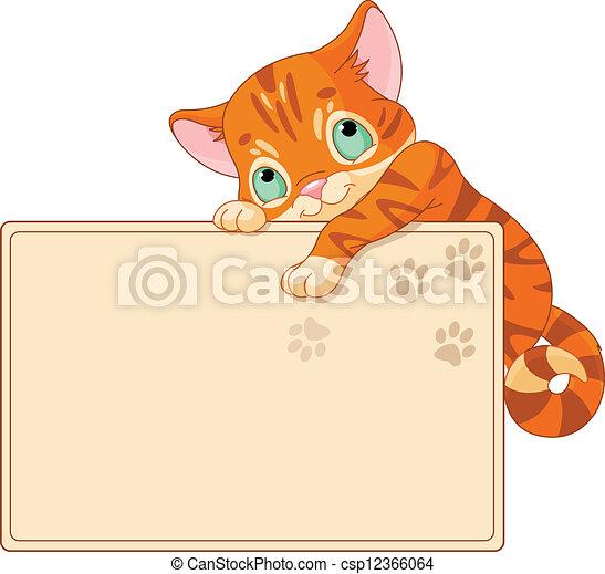 Cute kitten Invite or Placard - csp12366064