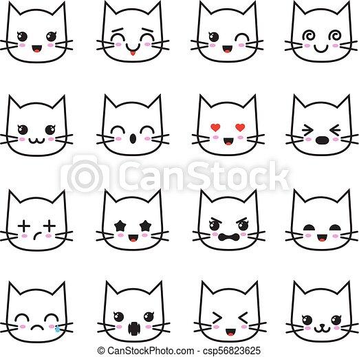 Cute kitten kawaii emoticon collection  Funny white cat emoji vector avatars