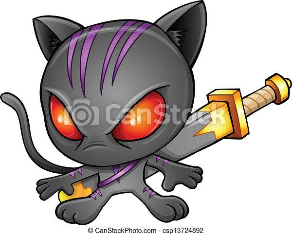 cute kitten warrior ninja vector eps vectors - search clip art