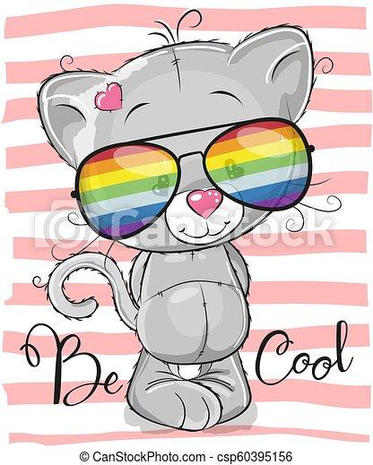 Cute Kitten with sun glasses - csp60395156