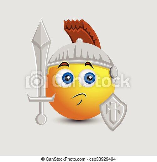 Cute Knight Soldier Emoji - csp33929494