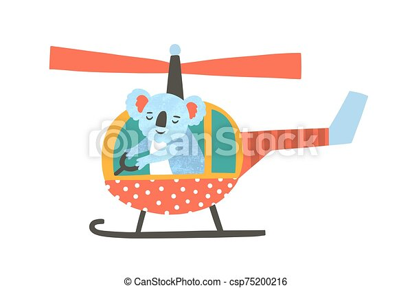 Cute Koala Bear Flying Helicopter Flat Vector Illustration Adorable Exotic Animal In Aerial Transport Cartoon Characters