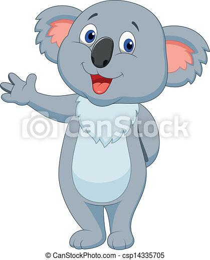 Vector Illustration Of Cute Koala Cartoon Hand Waving