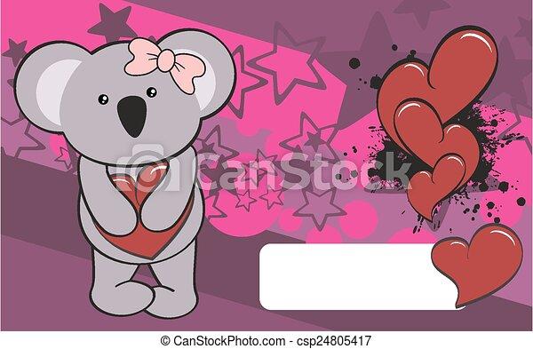 Line Art Valentine : Cute koala girl cartoon valentine backgorund in vector