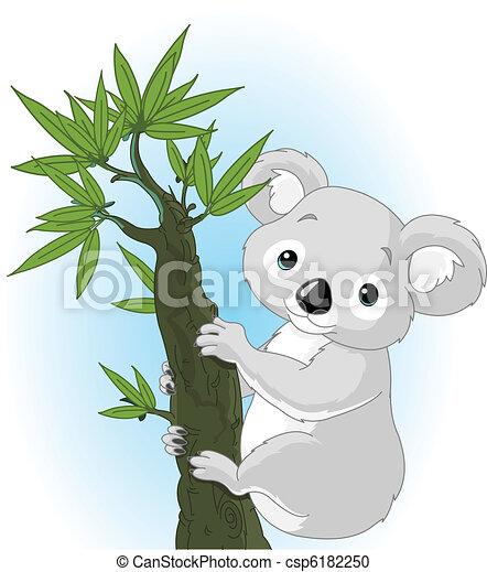 Cute koala on a tree - csp6182250