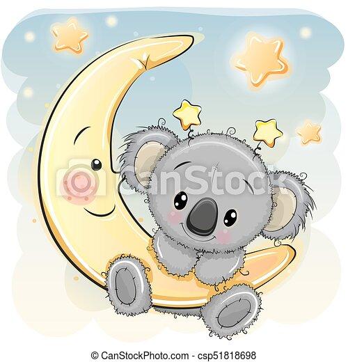 Cute koala on the moon greeting card cute cartoon koala on the moon cute koala on the moon csp51818698 m4hsunfo